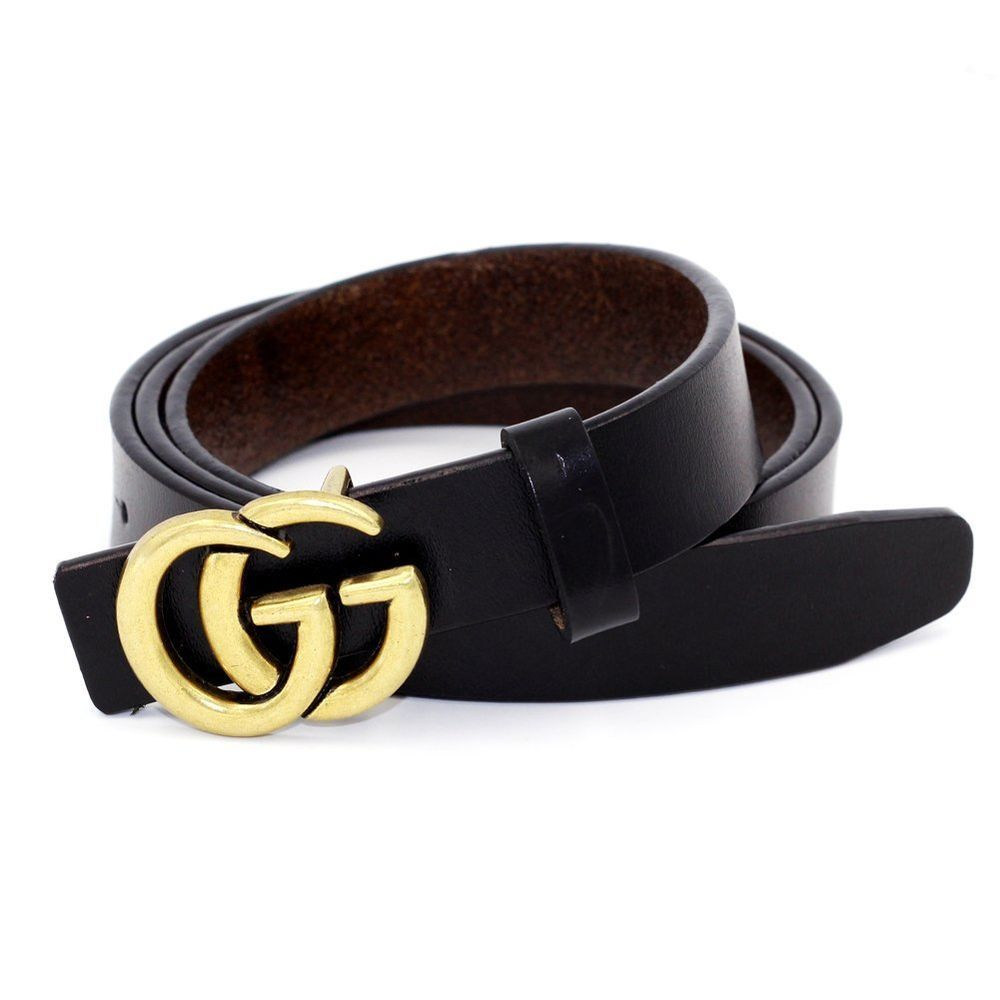 Womens Genuine Leather Thin Belt For Jeans 0.9″ Wide With Letter Buckle GG  NEW