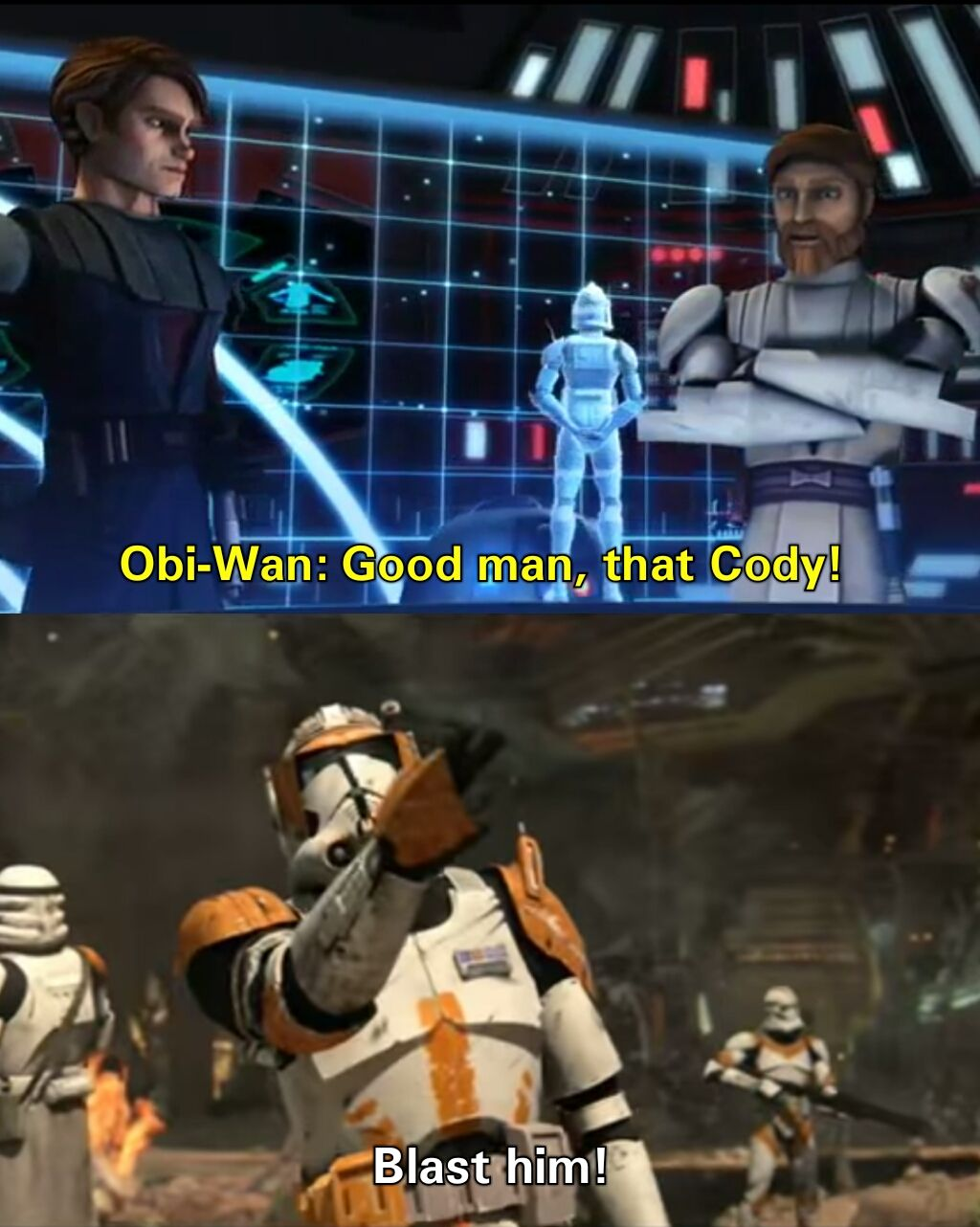 Clone Wars Meme Cody Obi Wan Star Wars Memes Star Wars Jokes Star Wars Facts