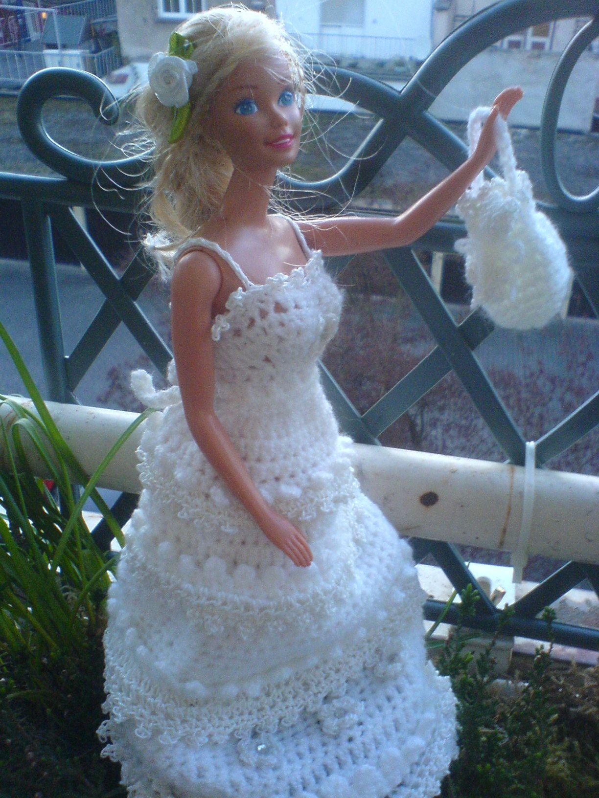 Brautkleid mit Tasche....   Crochet-Häkel Barbie Hochzeitskleid ...