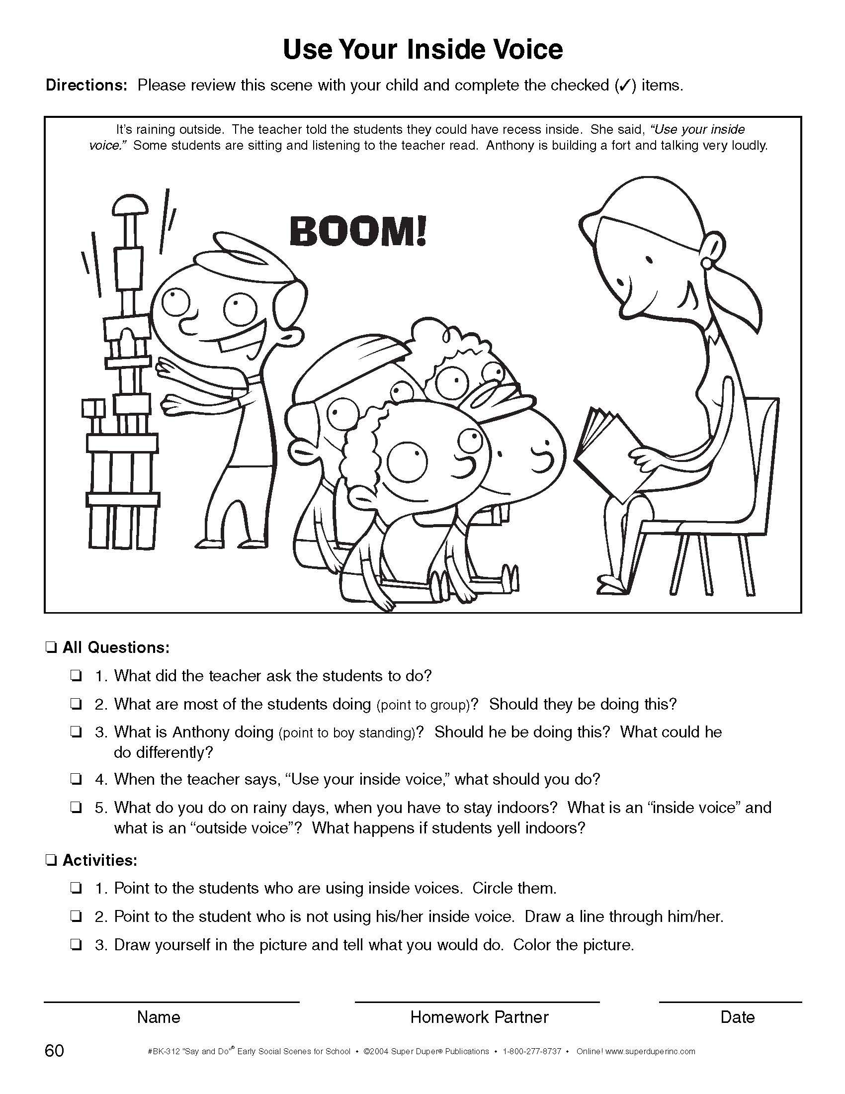 Social Scenes Fun Sheet Inside Voice Weather Words Speech And Language Reading Comprehension