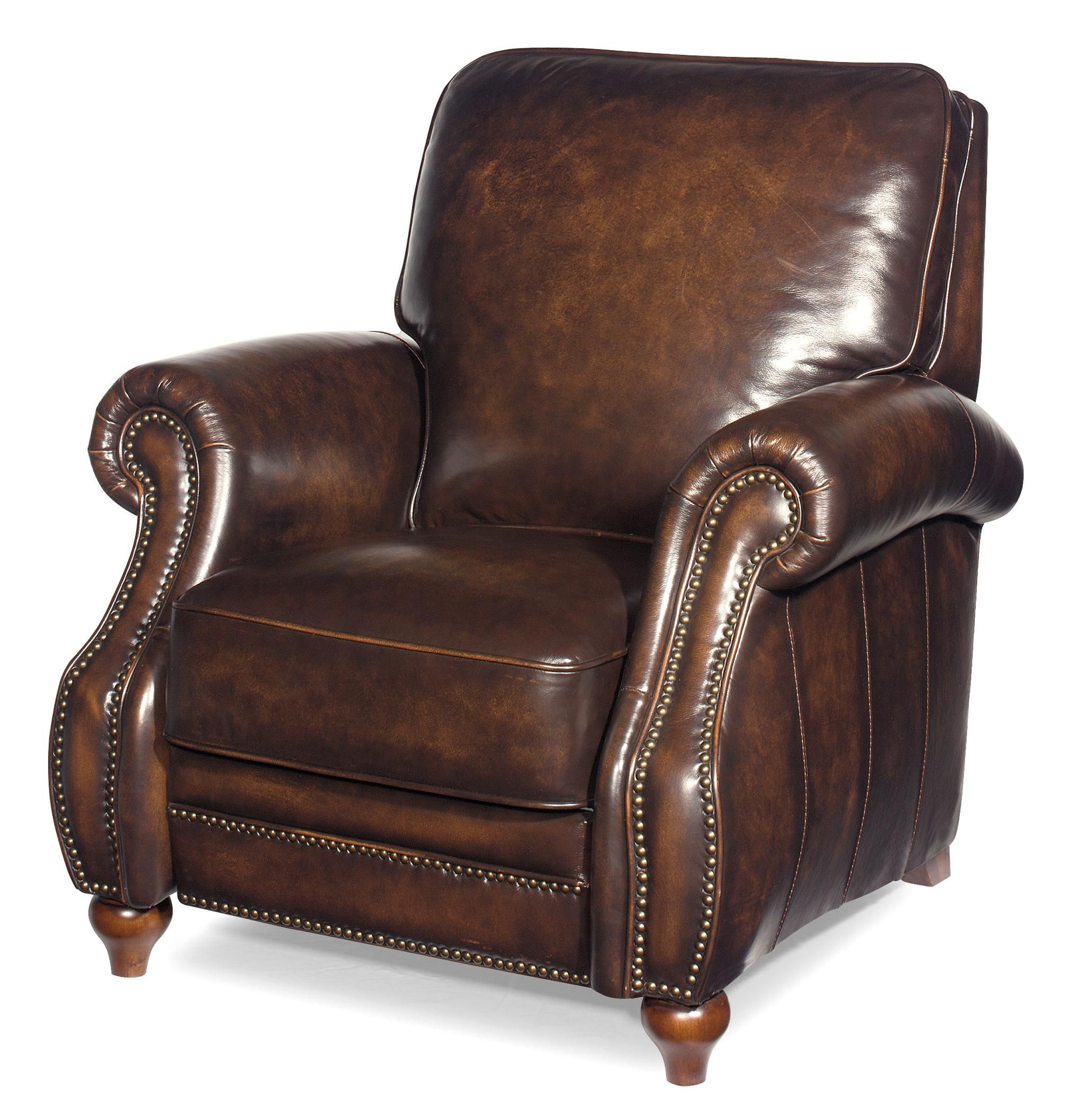 Traditional Leather High Leg Recliner with Turned Wood Feet Waco