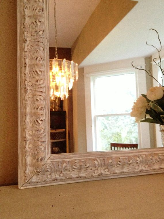 White Chalk Paint Mirror Distressed Ornate Wood Frame Shabby Chic Mantle Nursery