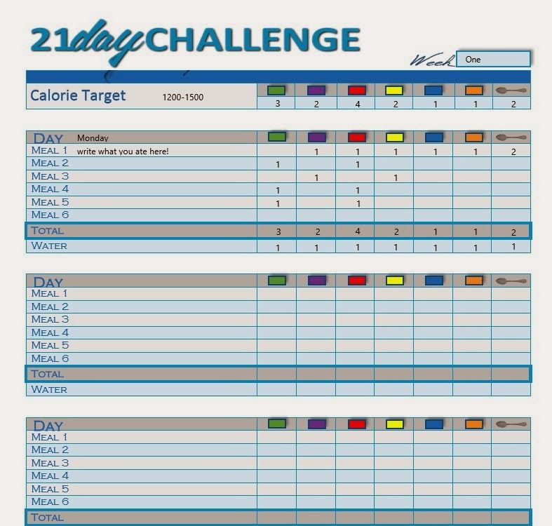 printable meal tracker for 21 day fix
