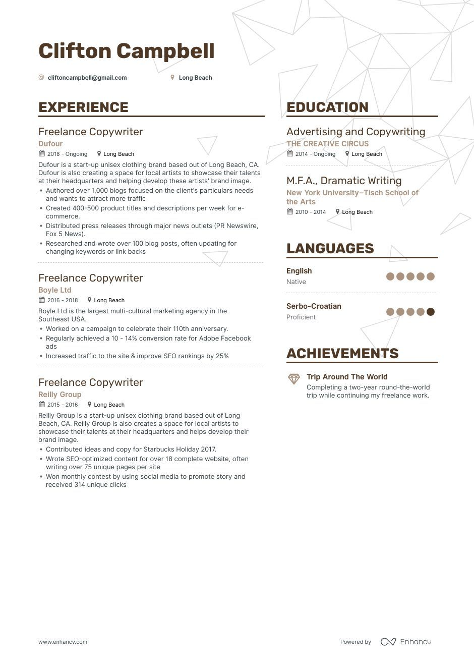 Freelance Copywriter Resume Example And Guide For 2019 Resume Examples Good Resume Examples Resume