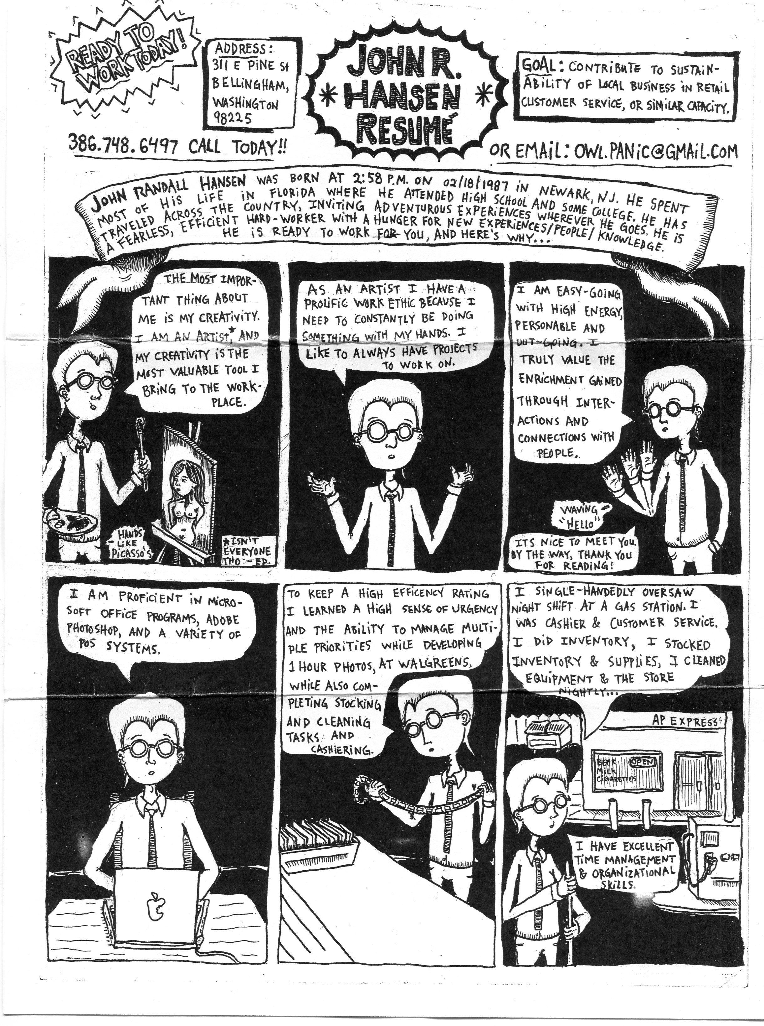 John hansen comiczine resume creative writing ideas