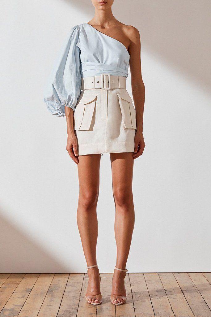 Photo of Ellington linen mini skirt – ecru