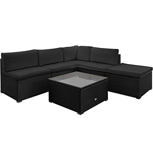 Rattan Garden Furniture Set Sofa Lounge Black Anthracite Large