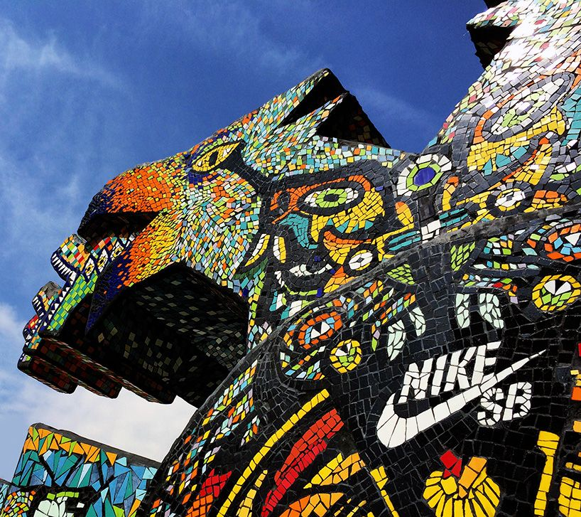 Sculpture at the NIKE Templo Mayor skatepark in Mexico City - Luis Ponce