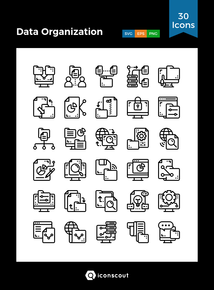 Download Data Organization Icon Pack Available In Svg Png Icon Fonts Technology Icon Marketing Icon Icon Pack