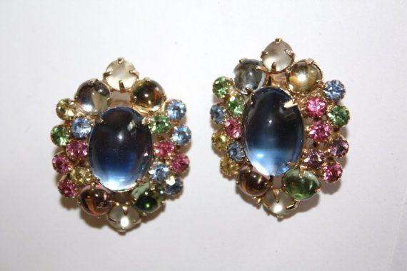 Vintage Earrings WEISS Blue Cabochon Rhinestone 1950s by patwatty, $40.00