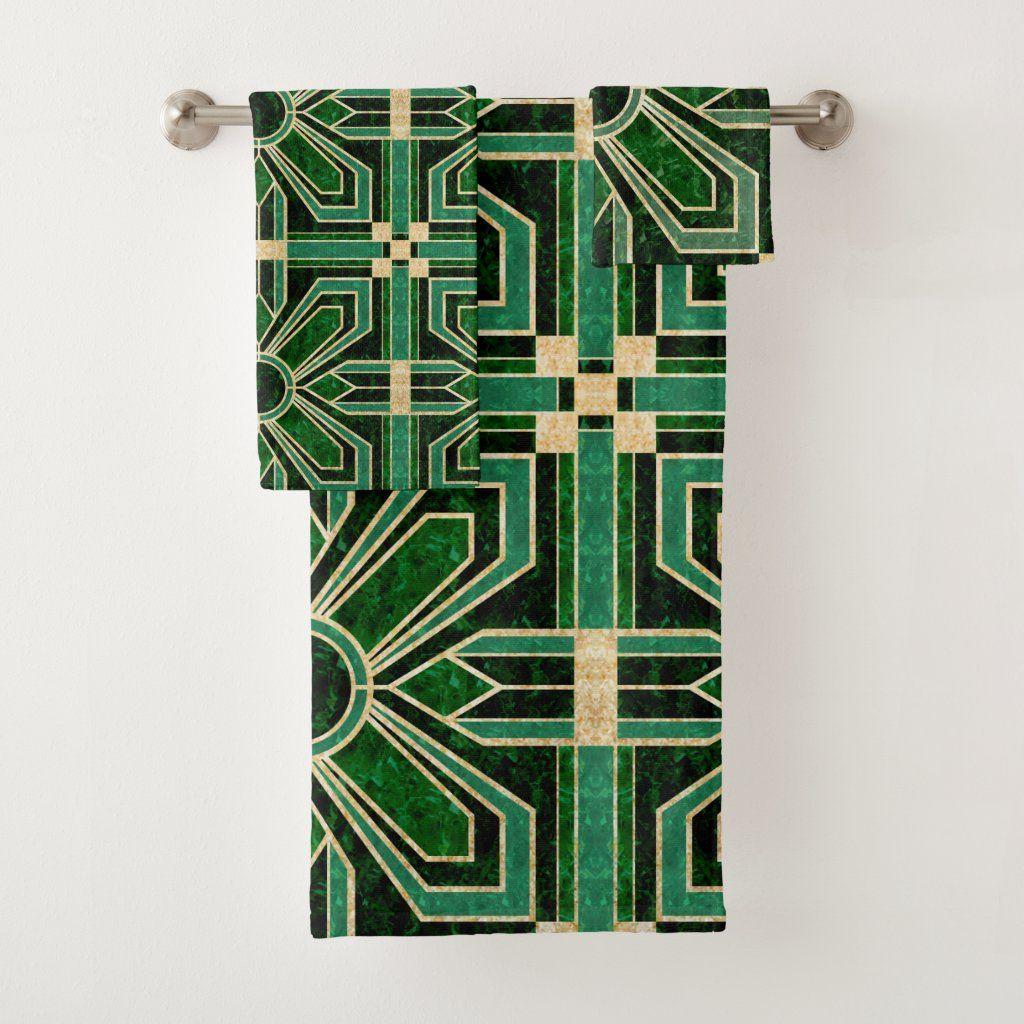 Art Deco Floral Tiles In Emerald Green Bath Towel Set Zazzle Com In 2020 Green Bath Towels Green Bathroom Accessories Green Bathroom Decor