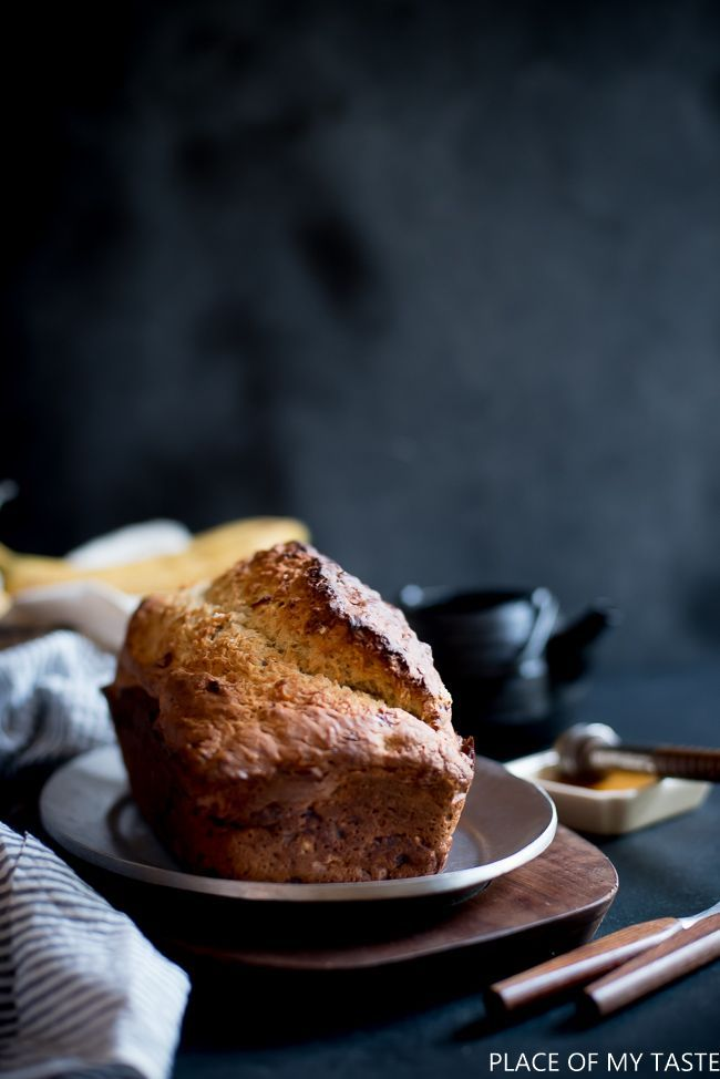 This is the best banana bread recipe. It's soft, fluffy and not too sweet. Only requires a few ingredients that you might find in your pantry. Beautiful dark food photography, too:-)