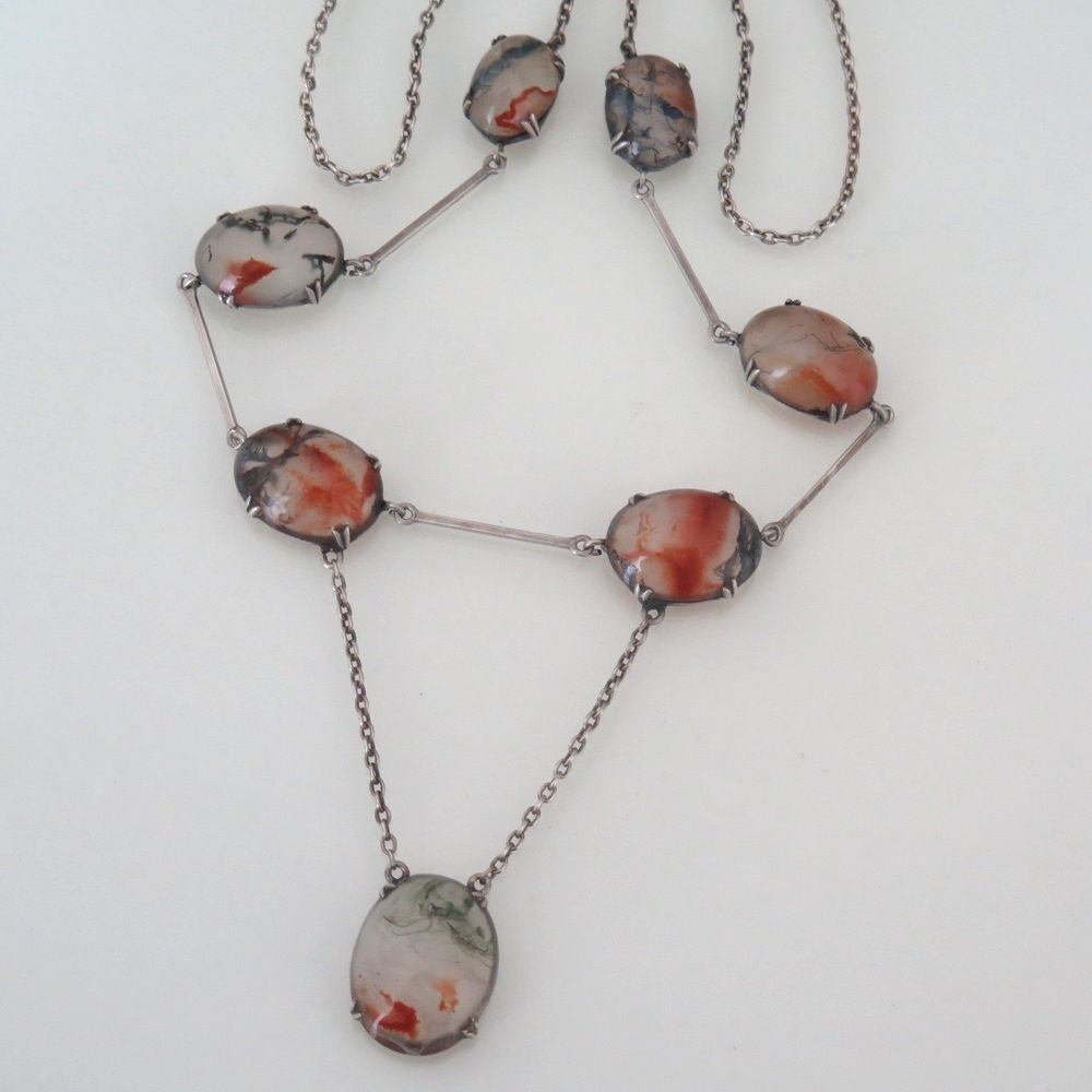 pin silver edwardian agate victorian moss antique sterling necklace