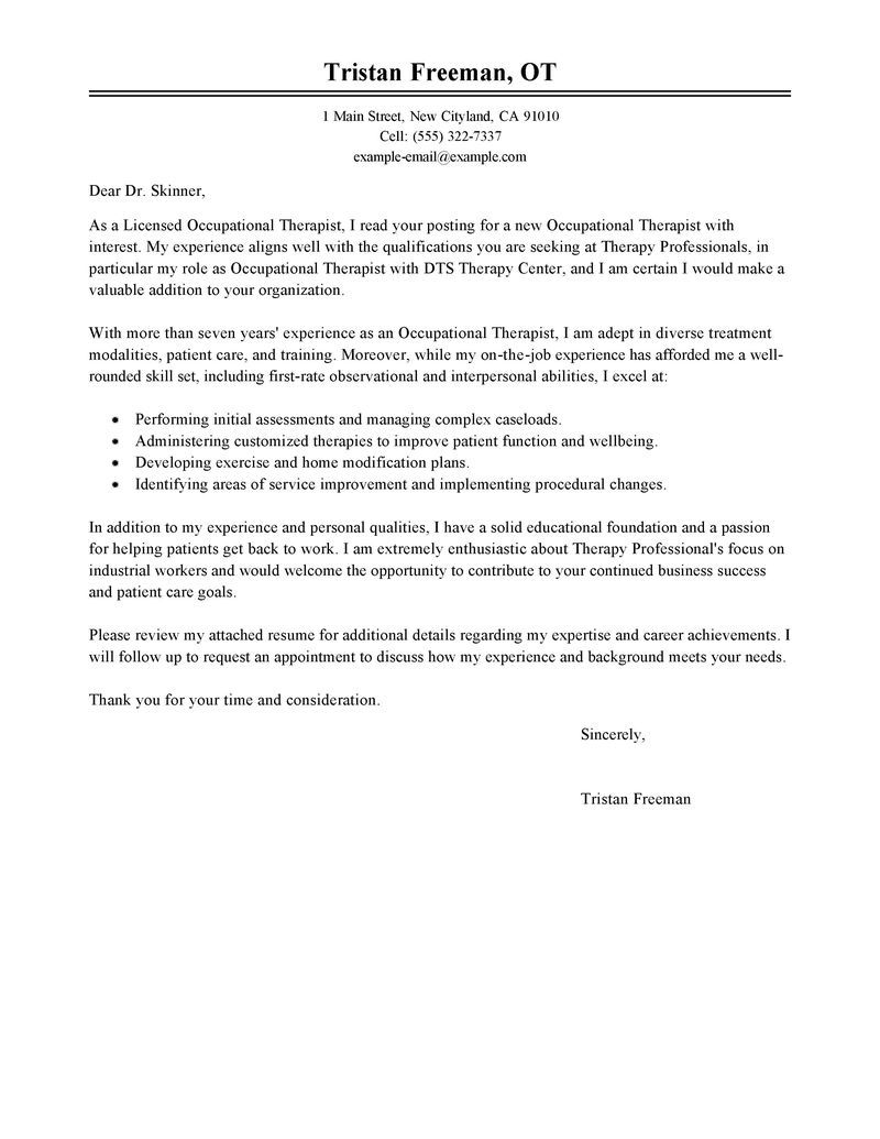Attractive Occupational Therapy Assistant Cover Letter