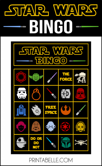 picture about Printable Starwars Pictures called Star Wars Bingo Recreation Printable Graham Get together Star wars