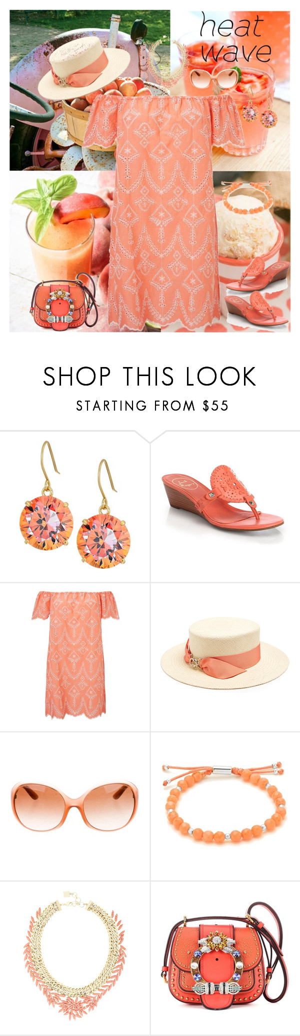 """Coral Bardot Sundress"" by horcal ❤ liked on Polyvore featuring Kate Spade, Jack Rogers, Disney, Miss Selfridge, Federica Moretti, Prada, Gorjana, BCBGMAXAZRIA, Miu Miu and heatwave"