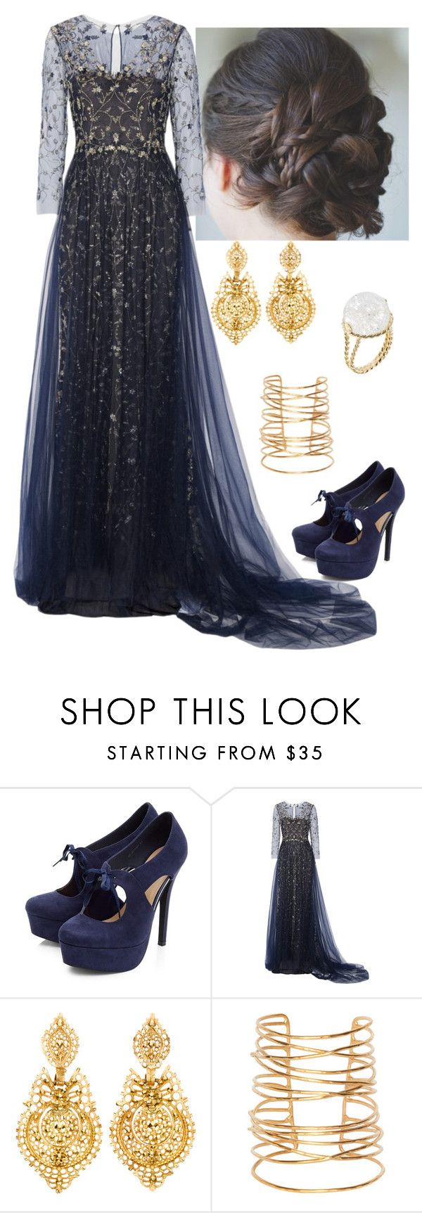 """Blue and Gold"" by manderine2 ❤ liked on Polyvore featuring Marchesa, Jill Heller, Rebecca Taylor and Aurélie Bidermann"