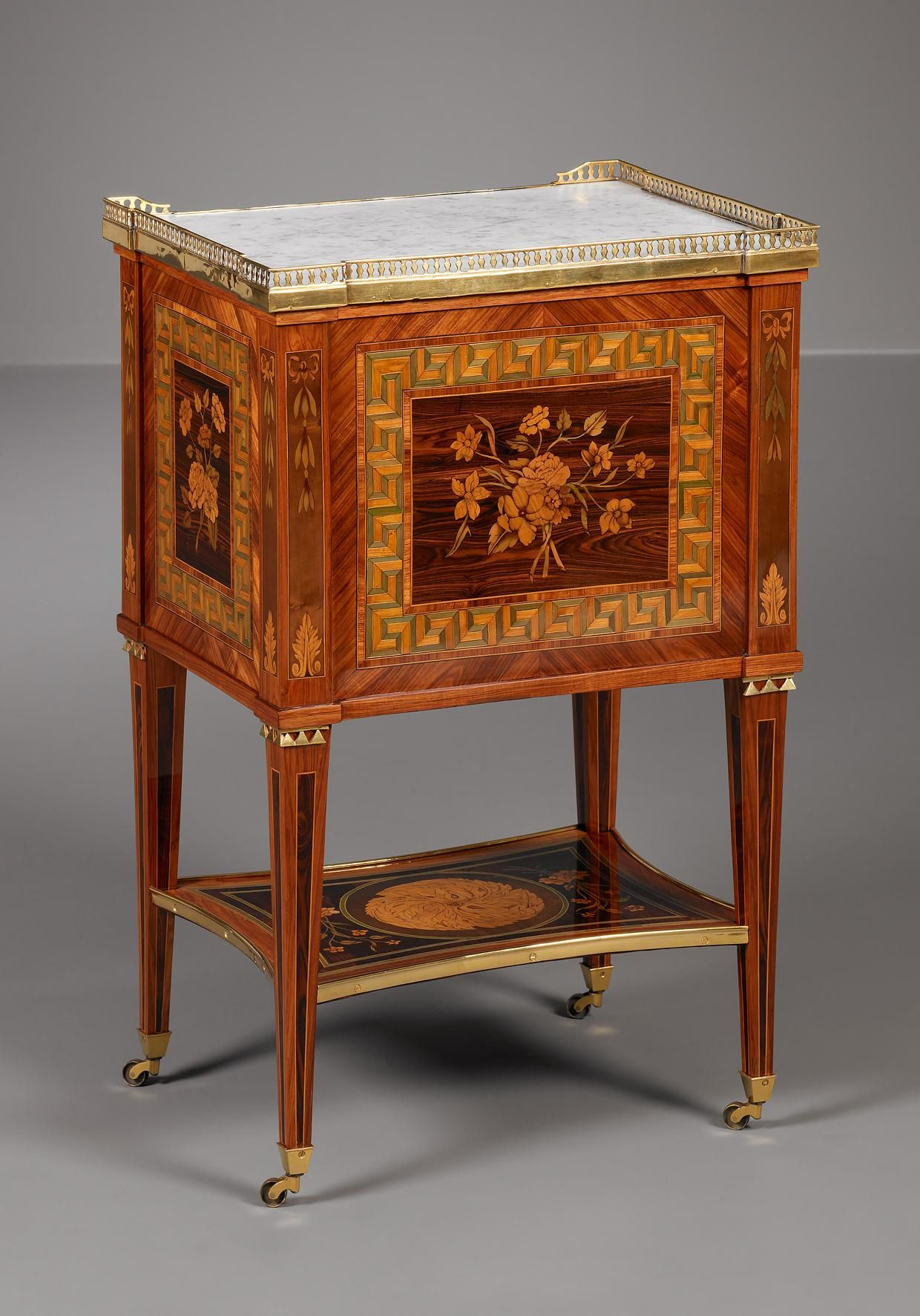 Small French Louis XVI Table, Jacques Birckle Period ca. 1780 Material oak and pine frame veneered with tulipwood, kingwood, sycam...