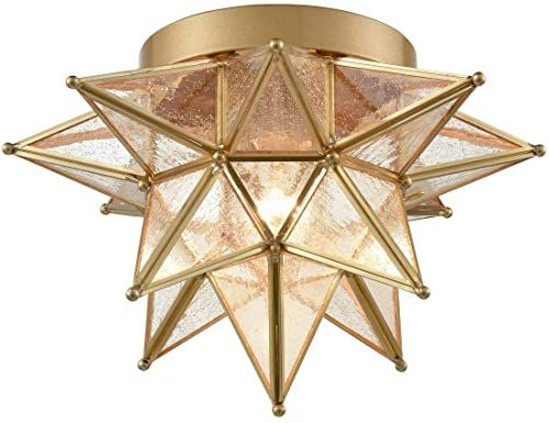 New Dazhuan Brass Moravian Star Light Flush Mount Celing ...