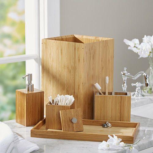Bamboo Bathroom Accessories Set 5 Piece Luxe Spa Escape Waste Bin Alluring Bamboo Bathroom Accessories Design Decoration