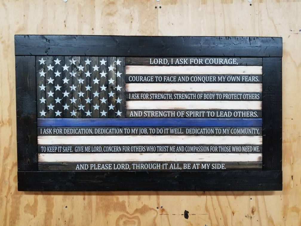 Wooden Rustic Style American Flag With Police Officer S Etsy Police Officer Prayer Rustic Style Police Prayer
