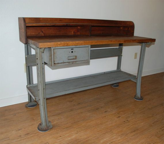 Vintage Industrial Work Bench Or Desk Lyon Metal By Inthebigshed