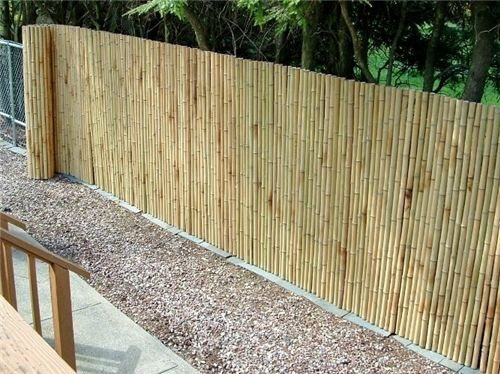 Bamboo Rolled Fencing Landscaping Network Backyard Fences Landscaping Along Fence Backyard Makeover