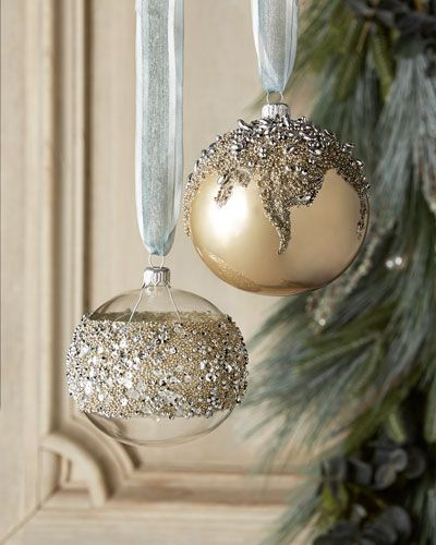 """Encrusted Christmas Ornaments sold as set of two of same design. Sequined ornament shown on left; beaded ornament shown on right Made of glass. 4""""Dia. x 4.5""""T. Made in Poland."""