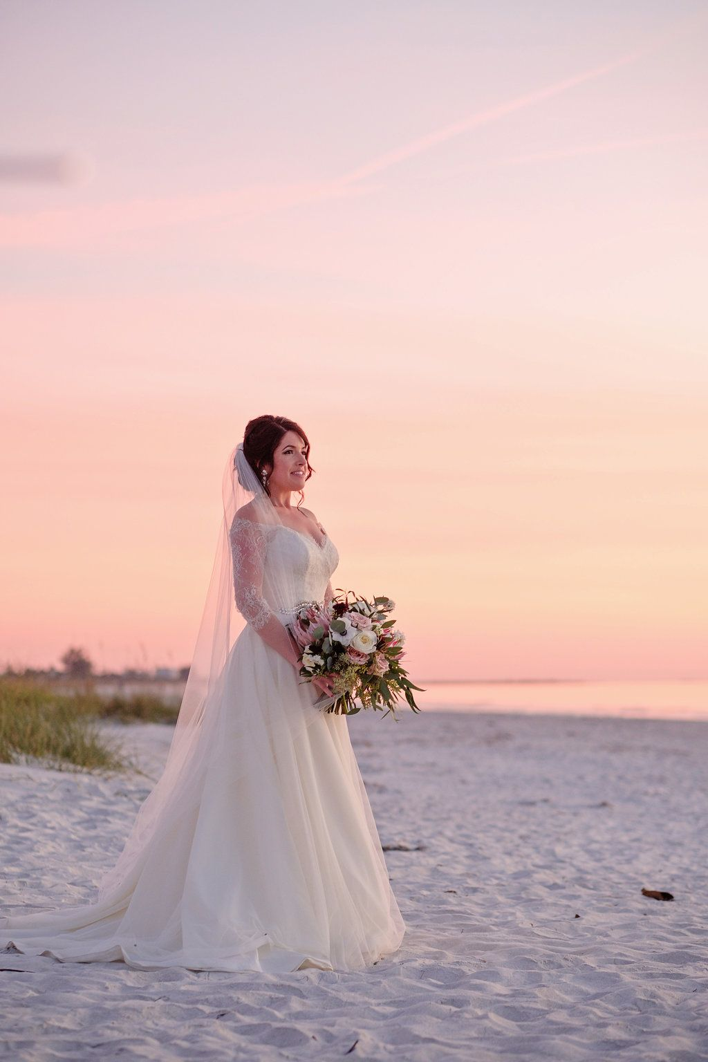 aa474fc750 Outdoor Beach Sunset Bridal Portrait in A Line Wedding Dress with White,  Pink, and Burgundy with Greenery Bouquet | St Petersburg Wedding  Photographer Marc ...