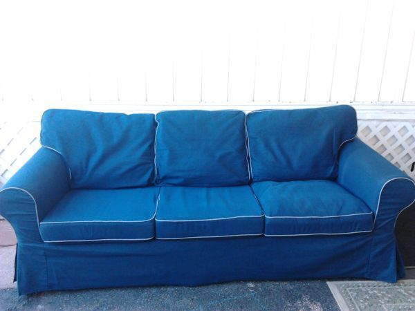 Navy Blue Denim Ikea Ektorp Sofa Cover In Excellent Condition