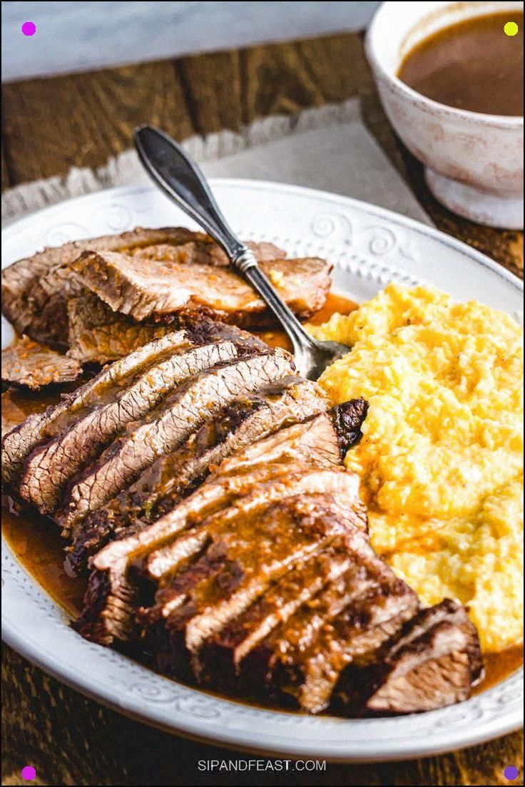 Brasato Al Barolo Is So Comforting And Delicious A Brisket Is Braised In A Dutch Oven With Red Wine, Sage, And Spices. Makes A Perfect Sunday Dinner. #Sipandfeast#Dutchoven #Braisedbeef #Brisket #Beefdinner #Sundaydinner #Potroast