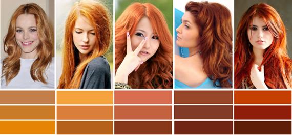Все оттенки рыжих волос