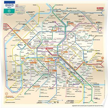 Paris Subway Map France Poster Paris Metro Map Underground
