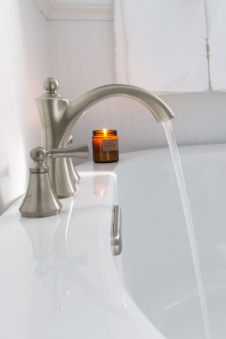 Moen Wynford Brushed Nickel Roman Tub Faucet | Bathtub Bliss | Pinterest