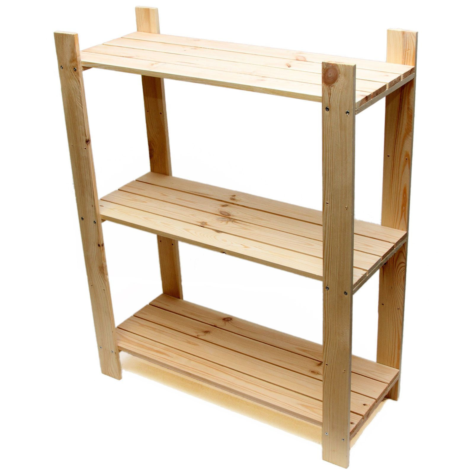 3 Tier Pine Shelf Unit   Pine Shelves With 3 Wooden Shelves   Freestanding  Rack