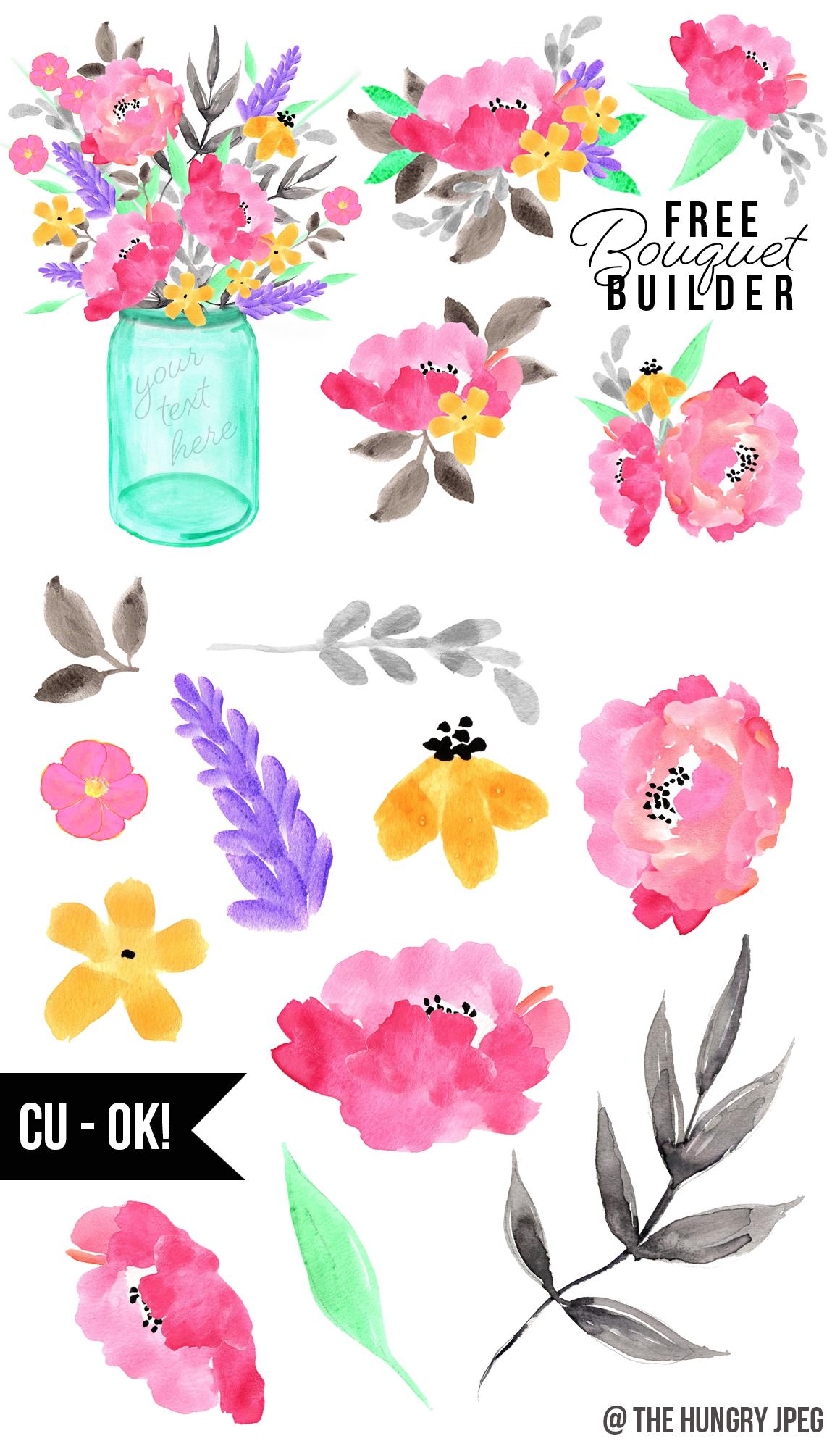 Free Design Resources: Watercolor Flower Bouquet Builder   Best Free ...
