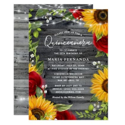 Rustic Sunflower Burgundy Rose Wood Quinceanera Invitation | Zazzle.com