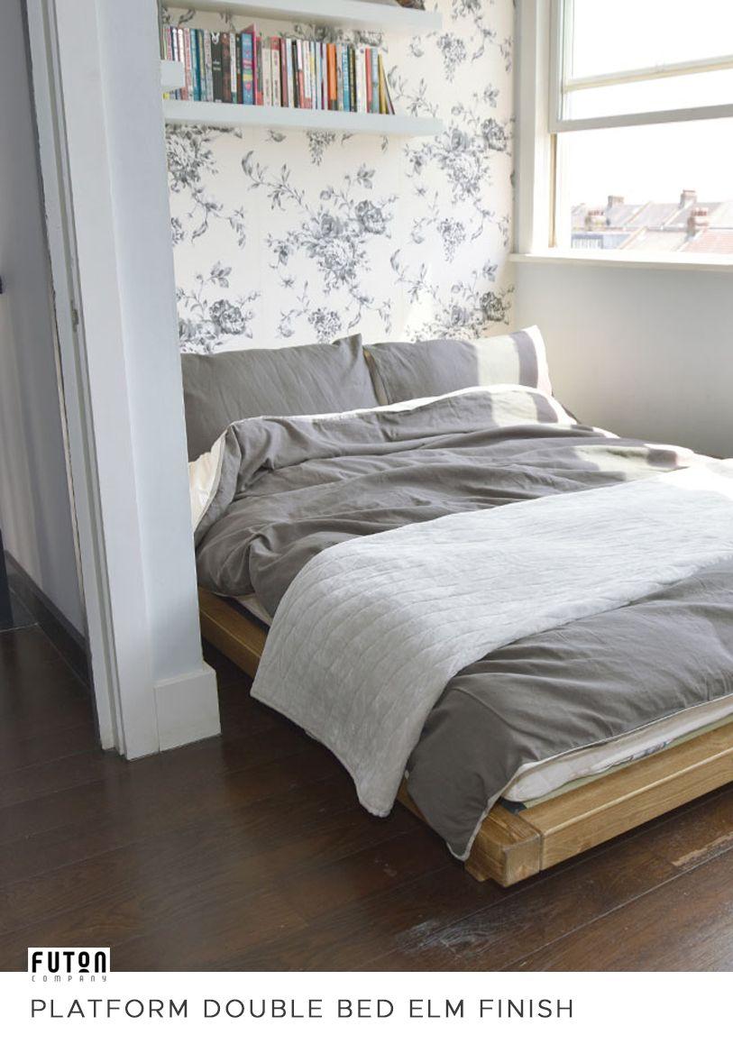 Platform Double Bed Elm Finish Bed, Low platform bed