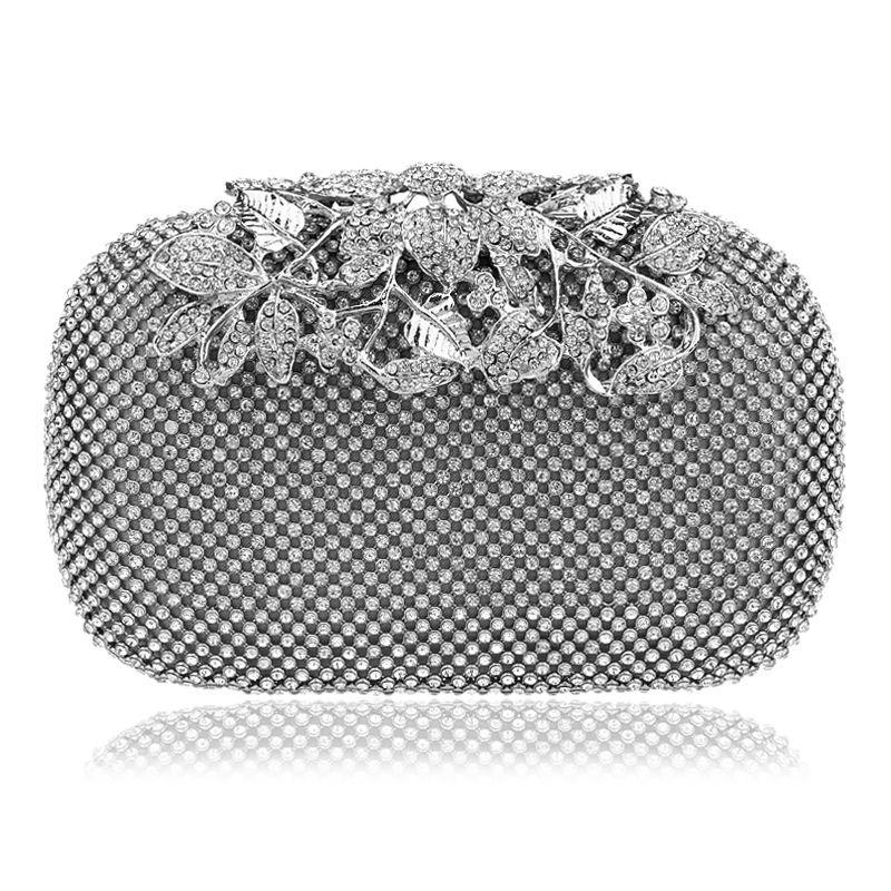 Flower Crystal Evening Bag Clutch Bags Clutches Lady Wedding Purse Rhinestones Handbags Silver Gold