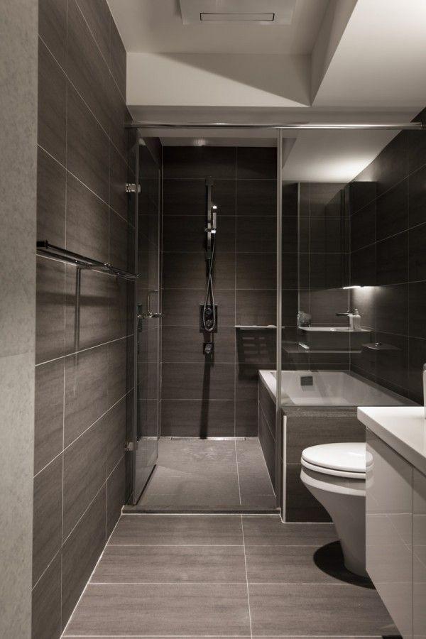 Modern walk in shower designs with virtuel reel slate tiles and modern bathroom modern bathroom