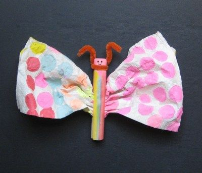 The classic butterfly clothespin/coffee filter craft.  This one uses dot markers to decorate the wings. Activity for the Very Hungry Caterpillar.