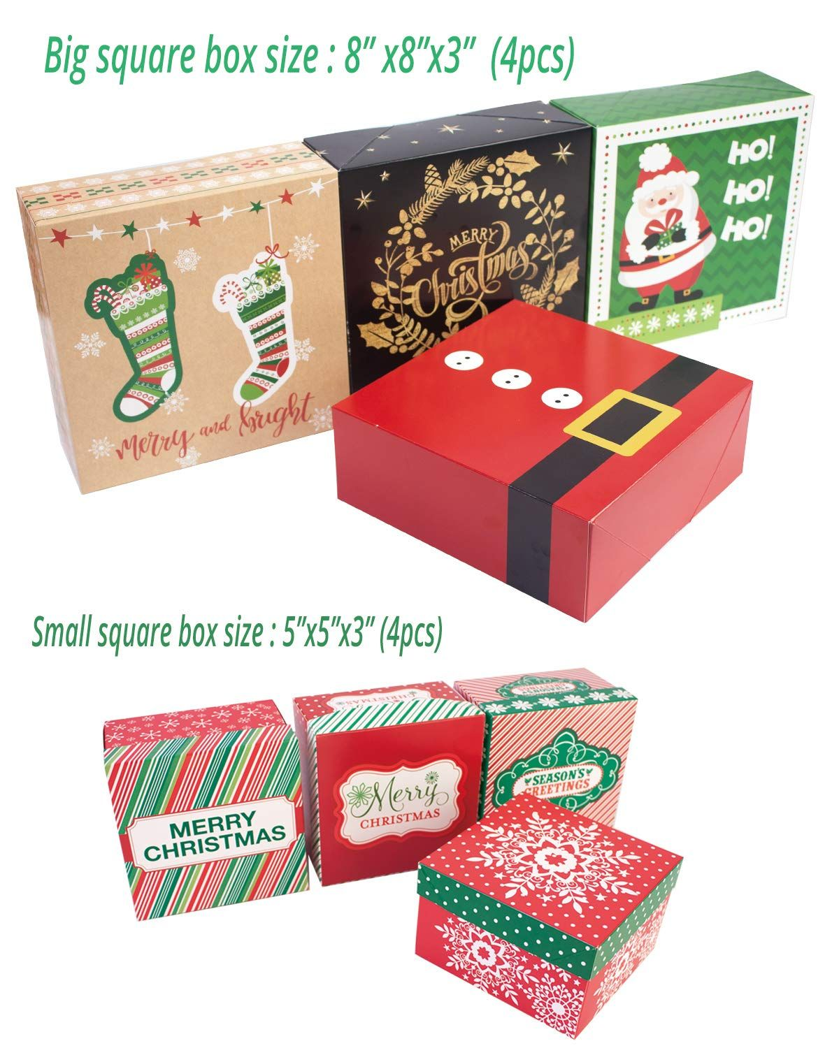 Decorative Christmas Gift Boxes with lids 14 Count and
