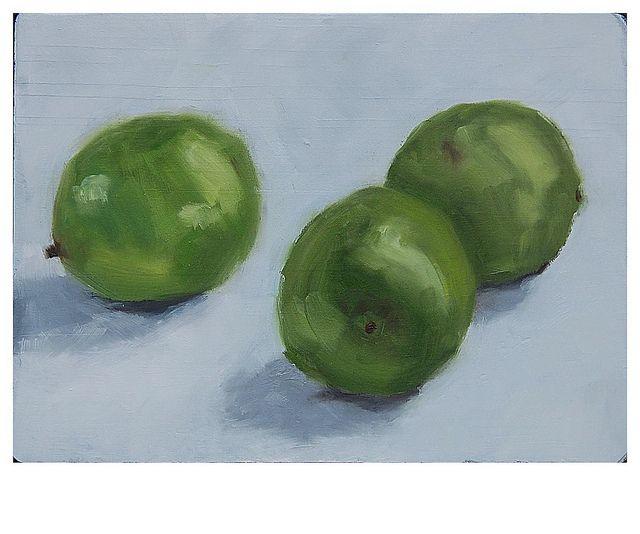 Limes, oil on wood board