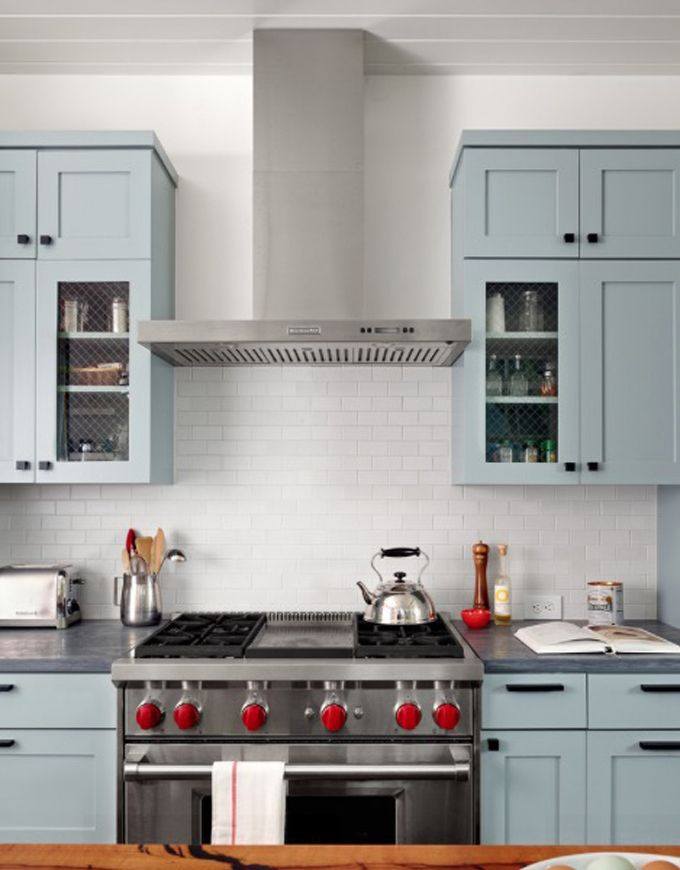 Kitchen Modern Kitchen With Light Blue Cabinets And Stainless
