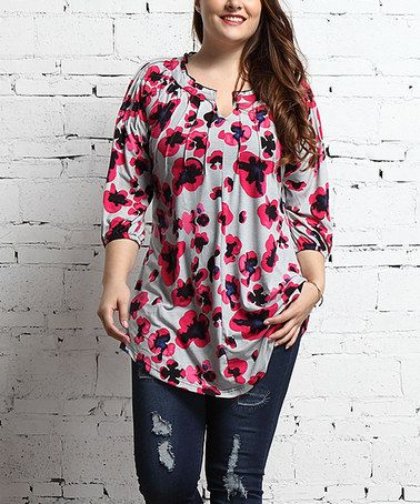 fbd25838 Loving this Gray Floral Notch Neck Tunic - Plus on #zulily! #zulilyfinds