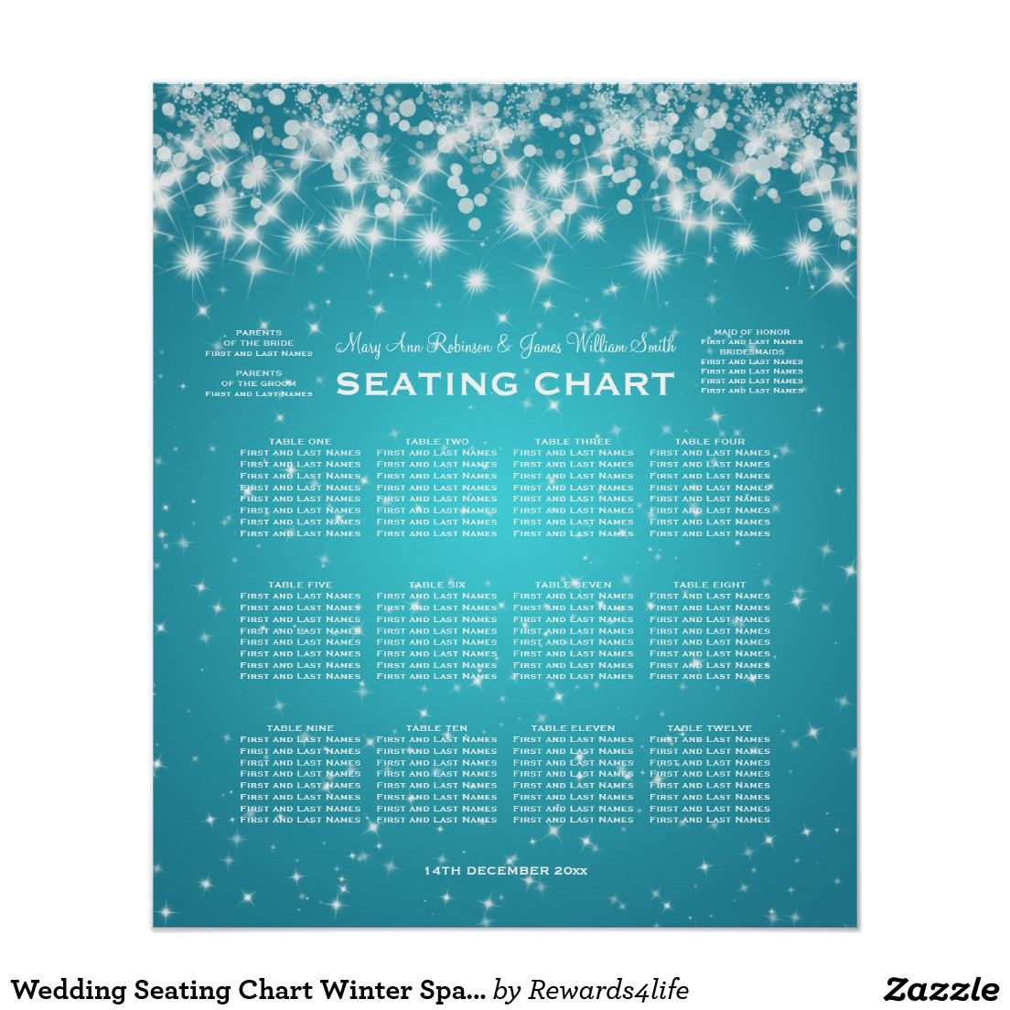 Wedding Seating Chart Winter Sparkle Turquoise Poster