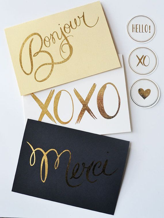 35 note cards so cool youll want to start writing letters cards greetings note cards set of 12 assorted love the gold type perfect for any note this holiday season m4hsunfo