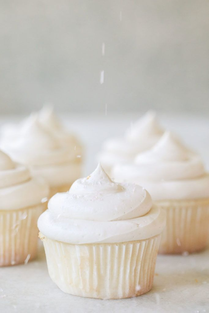 Our classic white vanilla cupcake recipe is made with a white, vanilla cake batter and topped with