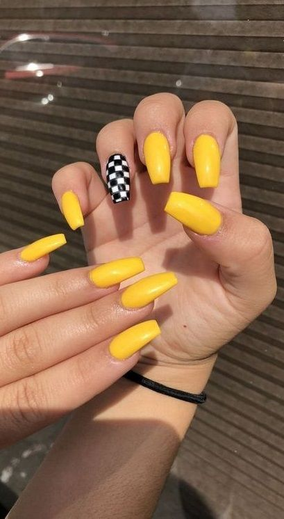 Stunning Yellow Acrylic Nail Art Designs For Summer In 2020