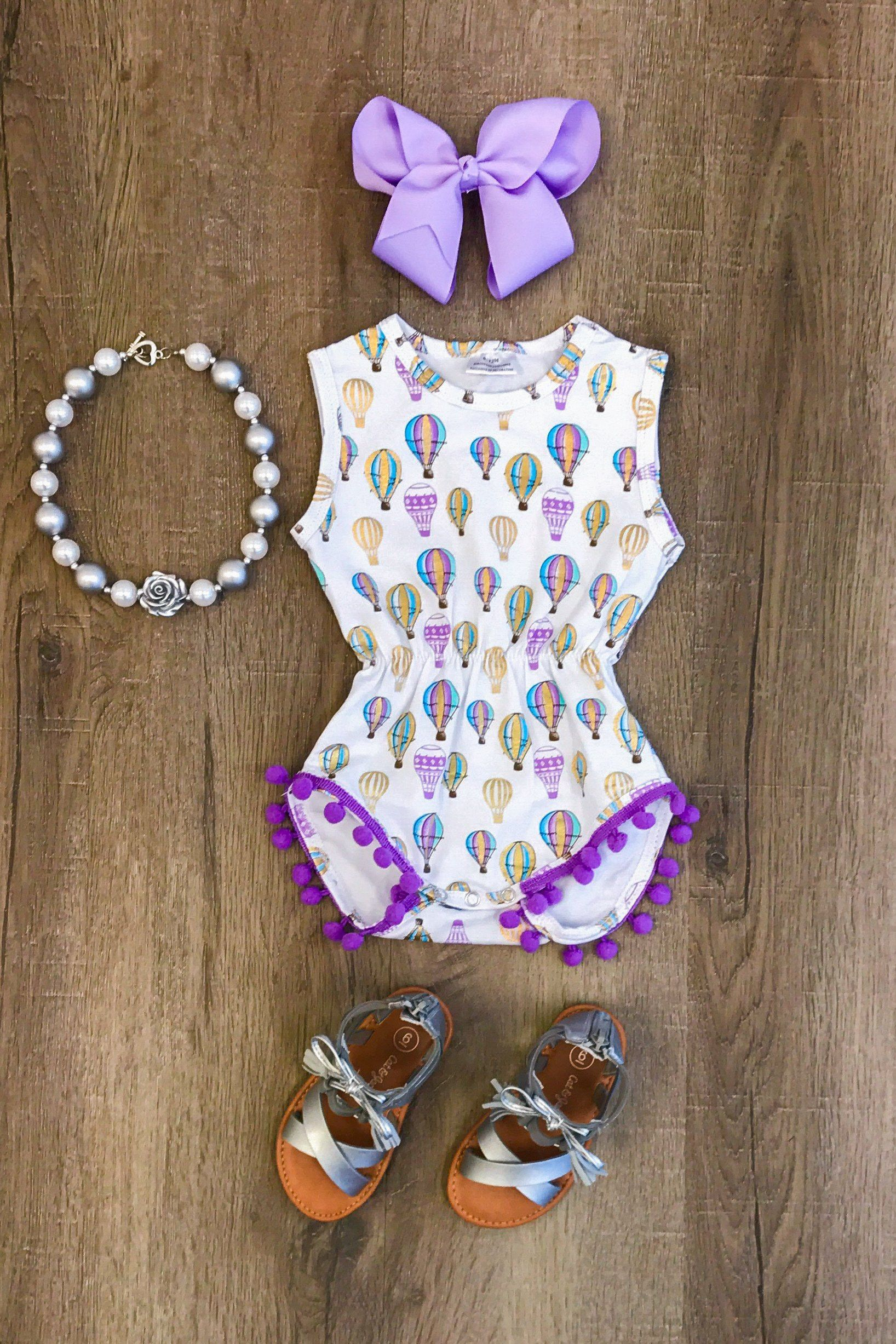 Lavendar Air Balloon Pom Pom Romper Houses Pinterest